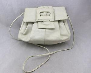 SUSAN-GAIL-Vintage-Ivory-White-Lizard-Embossed-Ruched-Crossbody-Shoulder-Bag
