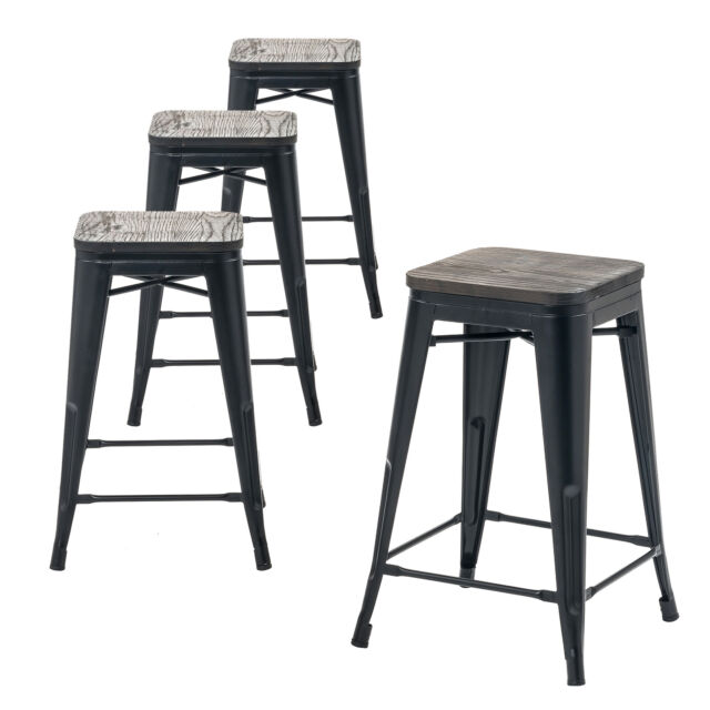 Set Of Four Matte Black 24 Inches Counter High Metal Bar Stools Indoor Outdoor
