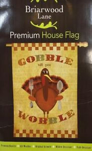 Thanksgiving-Turkey-Premium-House-Flag-Gobble-Wobble-28-034-x-40-034-Briarwood-Lane