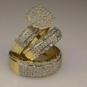 Diamond Trio His Her Bridal Wedding Band Engagement Ring Set 14k Yellow Gold Fn