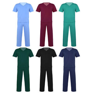 Unisex Scrubs Nurses Uniform Suits Hospital Medical Short Sleeves Top Long Pants