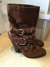 STEVE MADDEN RUSTIK 7.5 M STUDDED BROWN SUEDE COWBOY MOTO ANKLE BOOTS BOOTIES