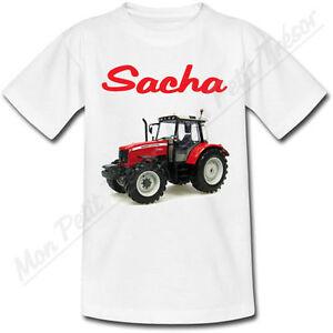 T-shirt-Enfant-Tracteur-Rouge-avec-Prenom-Personnalise