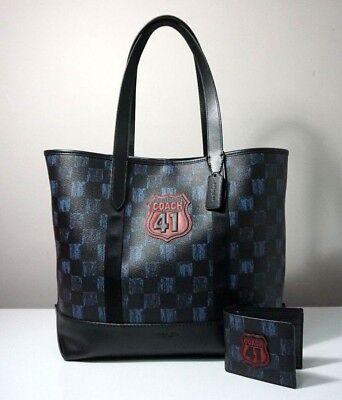 0e4ade8b44210 Coach Men's Graphic Checker Print West Tote Bag and Wallet Set F23250   eBay