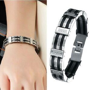 3299da6770128 Bracelet homme façon argent et cuir gourmette bijou homme acier mode ...
