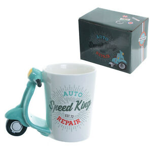 Fun-Scooter-Shaped-Handle-Ceramic-Mug-Great-B-039-Day-Gift-Comes-Boxed-034-FREE-POST-034