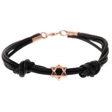14K Rose Gold Star of David Designer Leather Bracelet Judaica