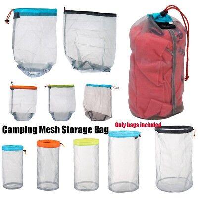 Ultralight Drawstring Nylon Mesh Stuff Sack Storage Bag for Tavelling Camping UK