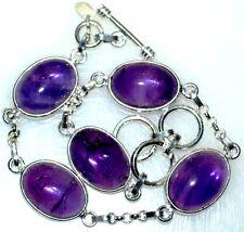 Sterling SILVER Purple AMETHYST Bracelet Genuine Gemstone Birthstone 925 Jewelry