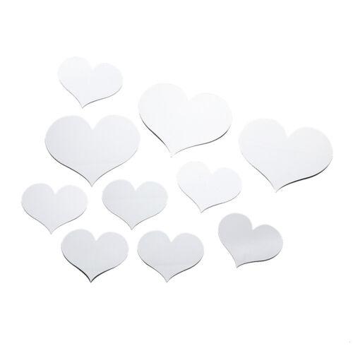 10pcs Love Heart Acrylic Mirror Wall Stickers Decal DIY Home Romantic Art Decor