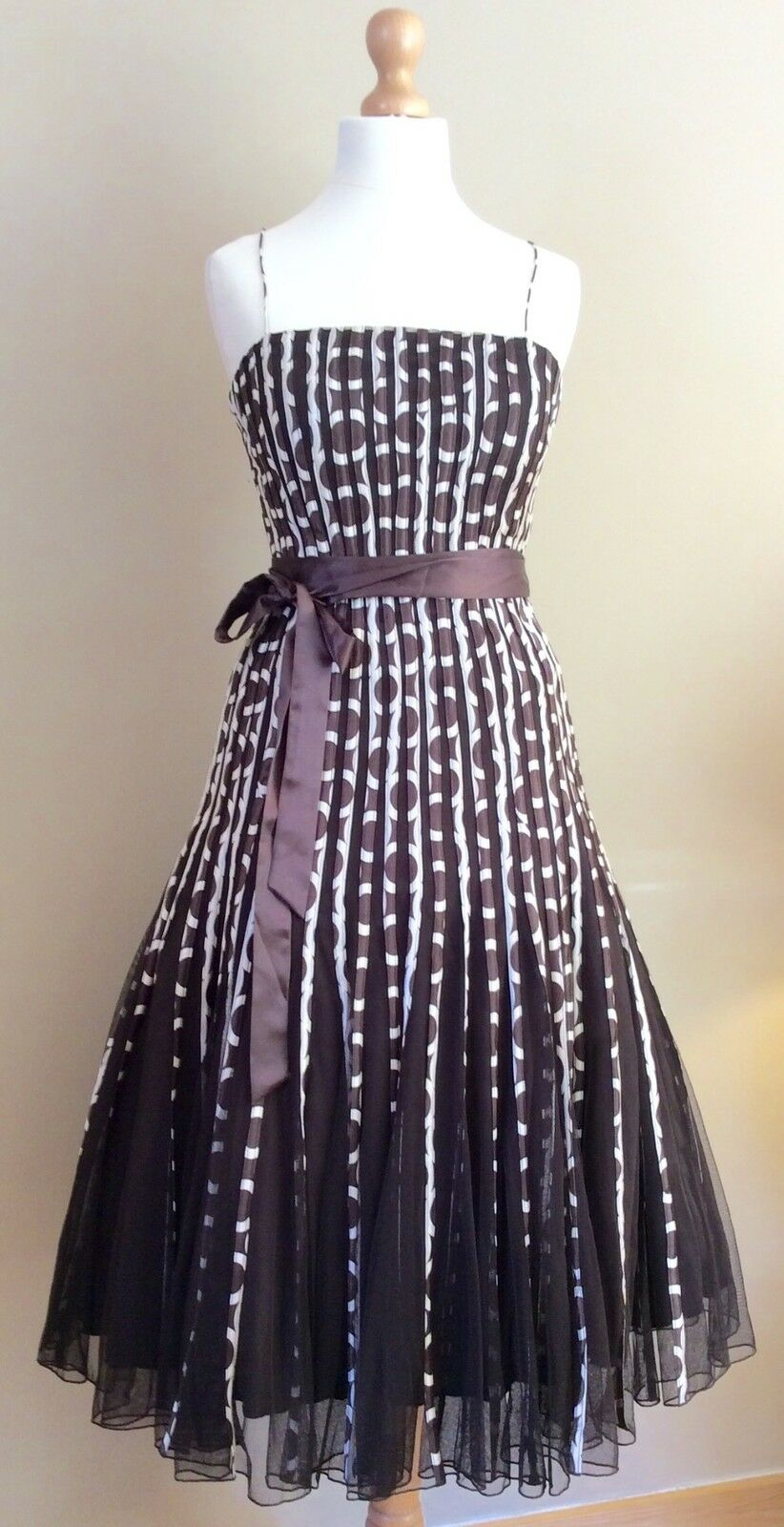 PHASE EIGHT BROWN CREAM SPOTTED EVENING DRESS SIZE SIZE SIZE 8 BELT c39d7a