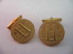 Vintage-Gold-Tone-ROYAL-CANADIAN-MINT-Mens-Cufflinks-Jewelry-Accesory