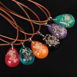 Vintage-Luminous-Dried-Flower-Pendant-Glow-In-The-Dark-Chain-Necklace-Jewellery