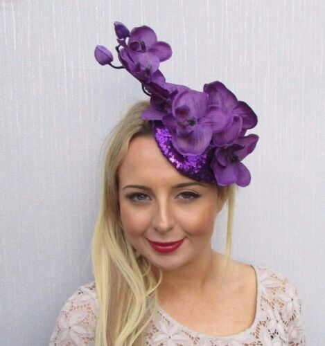 Purple Sequin Orchid Flower Fascinator Hat Hair Clip Races Wedding Pillbox 3526