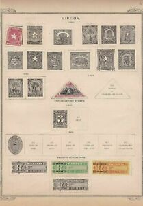 liberia and registration stamps on album page ref r11401