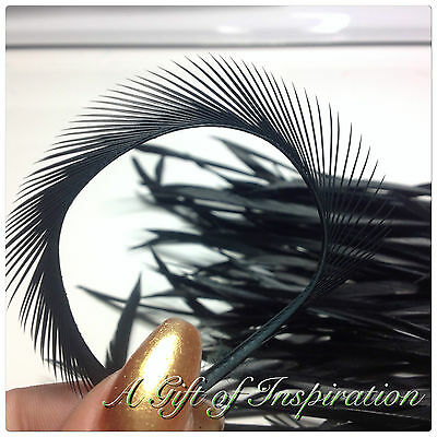 10 x 14-20cm Black Dyed Goose Biots Loose Feathers DIY Craft Millinery Hat Mask