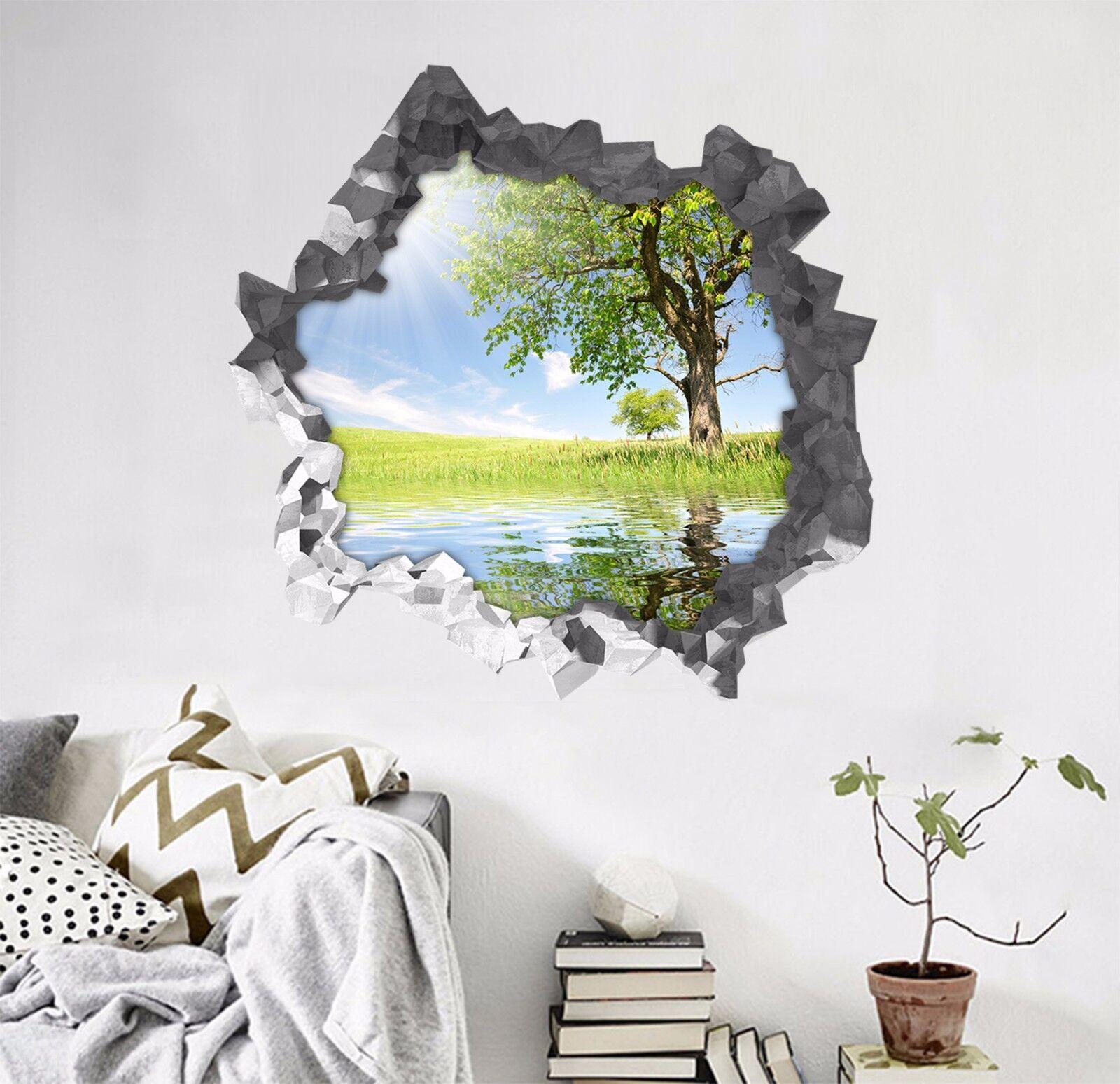 3D Albero Lago 1 Parete Murales Parete Adesivi Decal Sfondamento AJ WALLPAPER IT