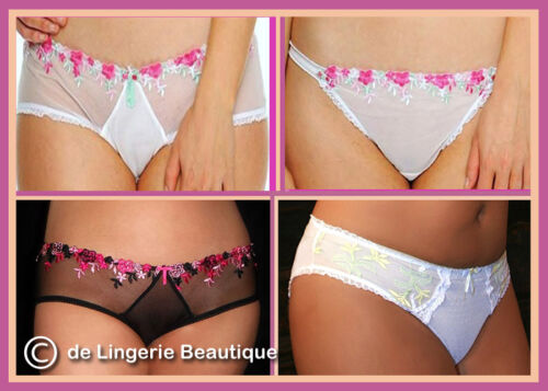 *SALE* Full-filled Briefs /& Thongs White or Black with Pretty Embroidery 10-24