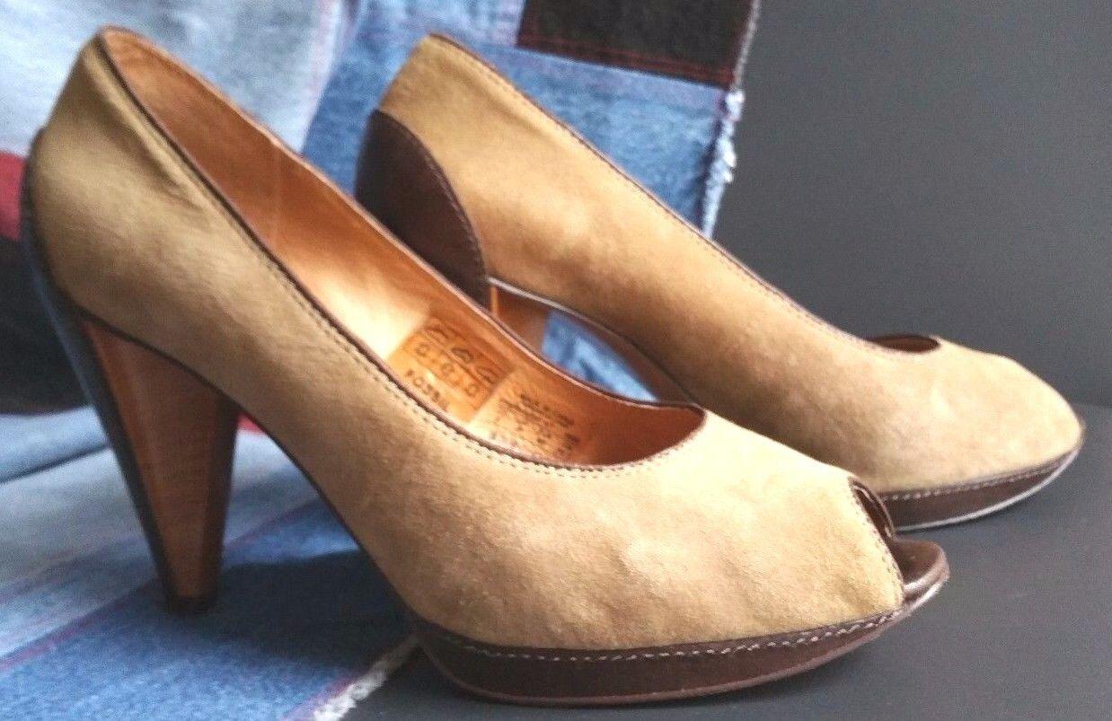 FOSSIL Suede Leather Leather Suede Heels Platform Pumps schuhe damen Sz 9 Peep Toe a6b921
