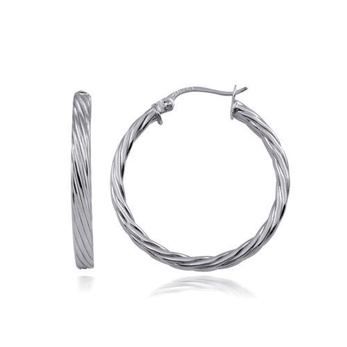 Sterling Silver 3 mm Twist Design Poli Boucles d/'oreilles créoles 25 mm