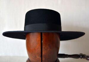 Black-SPANISH-3X-Wool-Felt-HAT-BOATER-Flat-Top-Boater-Gambler-Rodeo-King