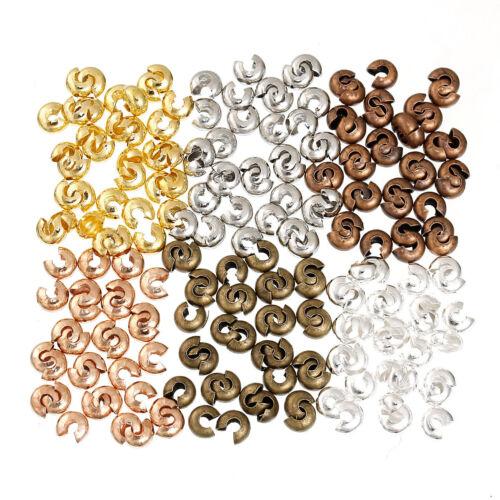 300 color mezclado grano de crimpado//Cable de nudo cubre ~ 5mm ~ ~ ~ ~ los sujetadores de hilo Pulseras 47B