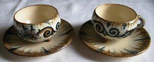 2 Tasses Et Sous Tasses Ceramique Quimper Paul Fouillen
