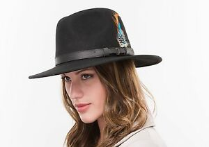 Brand New Ladies Navy Wool Crushable Walking Outdoor Trilby Fedora Hat