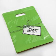 100 11x15 Lime Green Plastic Retail Die Cut Handle Merchandise Bag Boutique