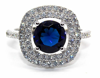 Sterling Silver Blue Sapphire And Diamond 3.51ct Cluster Ring (925) Free Box