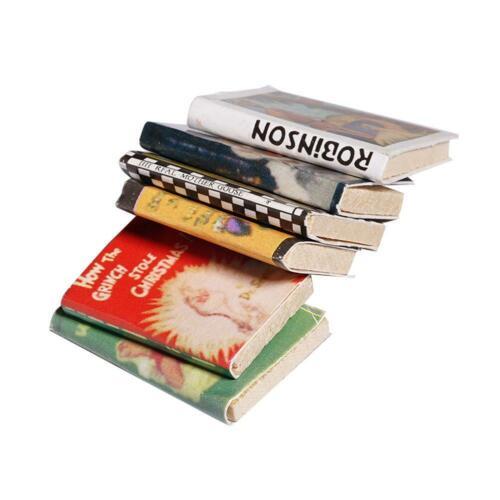 6x 1:12 Holz Puppenhaus Miniatur Bücher Bunte für Puppenhaus T3V Dekoratio E8V2