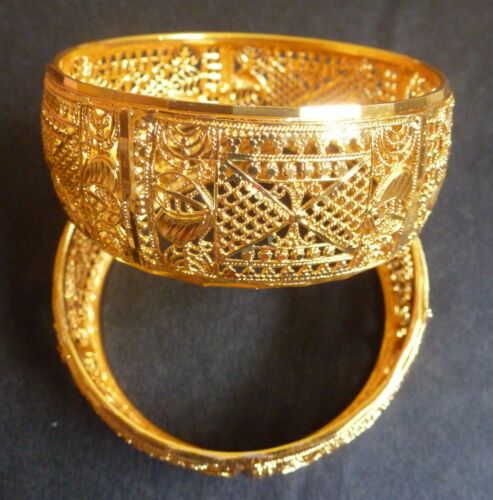 "South Indian 22K Plaqué or 2 Bracelets Bracelets Filigrane Net 1/"" Large 2.4 Taille"