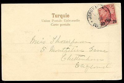 Germany LEVANT Ottoman Empire JERUSALEM post office 20para 1903 PPC to UK
