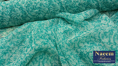 New*top quality turquoise chiffon soft floaty light weight print fabric 58/'/'wide