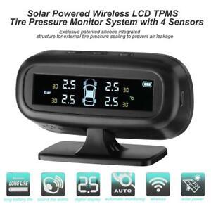 Wireless-Solar-Auto-LCD-Reifendruckkontrollsystem-TPMS-4-Externe-Sensoren