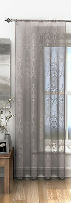 HOLLY TRADITIONAL VICTORIAN LACE PRINT PLAIN SLOT TOP VOILE NET CURTAIN PANEL
