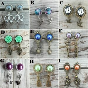 Pair-of-Dangle-Ear-Gauges-Plugs-Tunnels-9-Different-styles-Tunnels-Acrylic