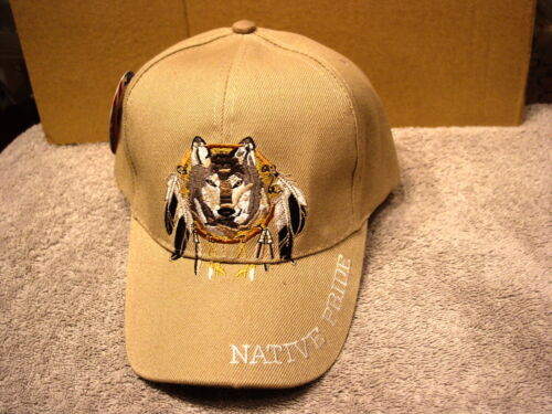 WOLF DREAMCATCHER NATIVE PRIDE #4 BASEBALL CAP HAT BEIGE