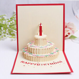 3D Pop Up Greeting Card Handmade Happy Birthday gift cake Birthday