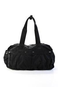 Lululemon Womens Three Straps Zip Top Logo Duffel Gym Handbag Black Nylon