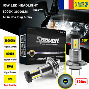 H7-110W-30000LM-Voiture-Cree-LED-Feux-Phare-Lampe-Ampoules-Kit-Xenon-Blanc-6000K