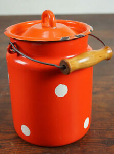 Vintage-Email-Milk-Jug-Bucket-Decor-Enamel-Retro-Dots-Utensilo-50er-4