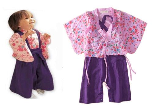 2pcs Enfants Bébé Garçons Filles Kimono chemise et bretelles Pantalon Ange Costume Japonais