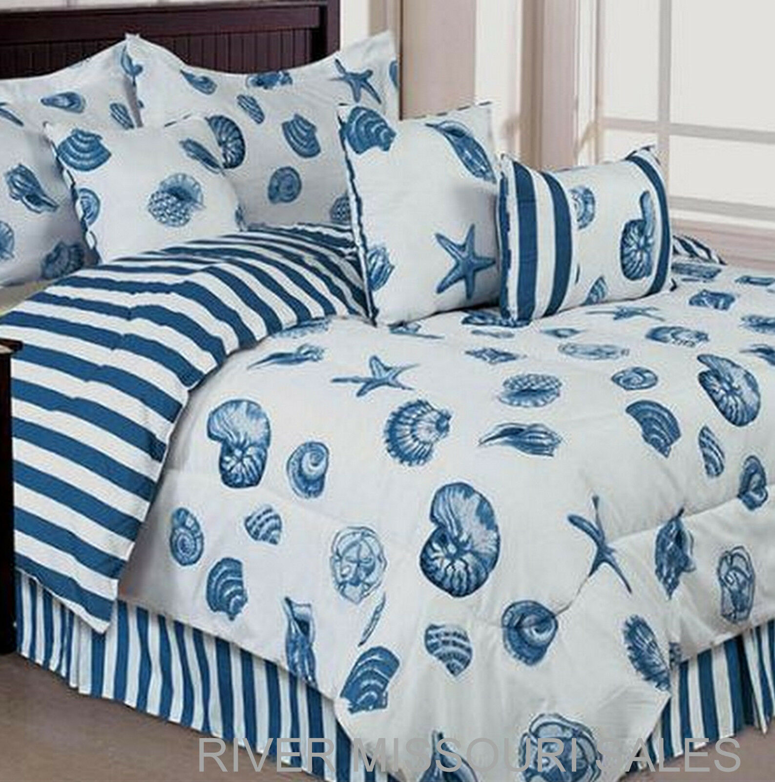 Nautical Ocean Themed Seashell 7 Piece Bed In Bag Comforter Set,Choice Sizes-NEW