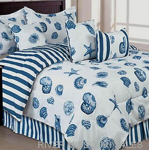 Nautical Ocean Themed Seashell 7 Piece Bed In Bag