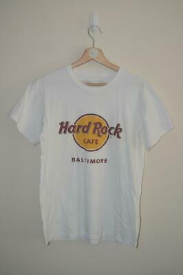 Retro White Hard Rock Cafe Baltimore Logo Print T Shirt Mens Uk Small Ebay