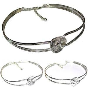 Silver-Swirl-Twist-Round-Wire-Vintage-Choker-Necklace-Fashion-for-Women-Girls-UK