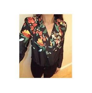 0f1f805c Details about ZARA New Black Oriental Floral Body Bodysuit With Lapel  Collar 0594/214 LARGE L