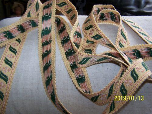 GALON ANCIEN PASSEMENTERIE DE LYON REYMONDON SOIE//COTON N10 Jaune paille vert