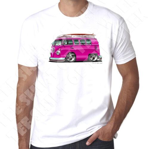 Wickedartz Cartoon Rose T2 Écran Campervan Homme 100/% Coton T-shirt blanc